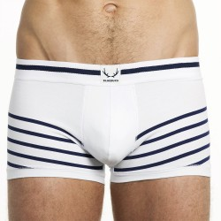 white trunk with oblique navy stripes